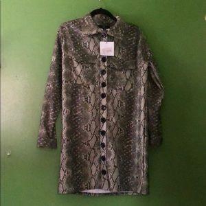 Green snake print trench coat/Oversized shirtdress